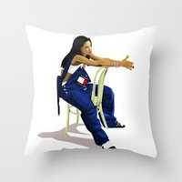 aaliyah Throw Pillows featuring Aaliyah by MikeHanz