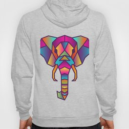 Elephant   Geometric Colorful Low Poly Animal Set Hoody