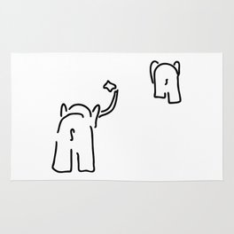 pair of elephants say goodbye Rug