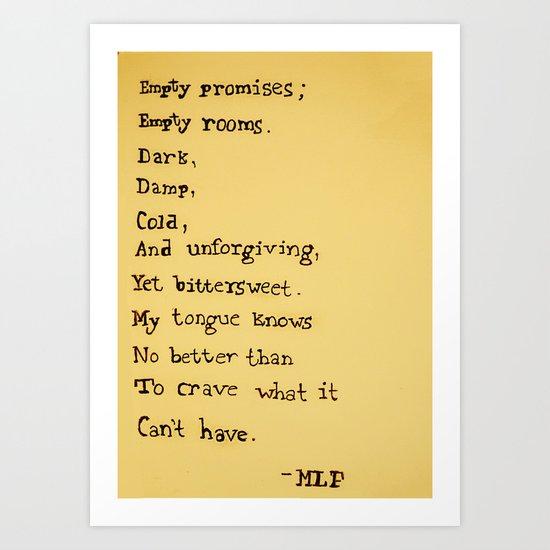 Empty Promises Art Print
