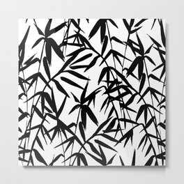 Black and White Watercolor Bamboo Seamless Pattern Metal Print