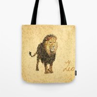 leo Tote Bags featuring LEO by SensualPatterns