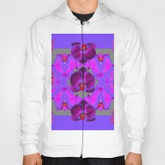 Modern  Abstracted Dark Purple Moth Orchids  Lavender Art Hoody
