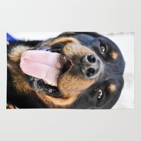rottweiler Area & Throw Rugs featuring Happy rottweiler by StarsColdNight
