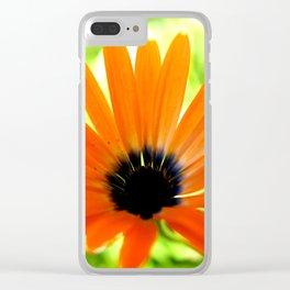 Solar orange daisy flower Clear iPhone Case