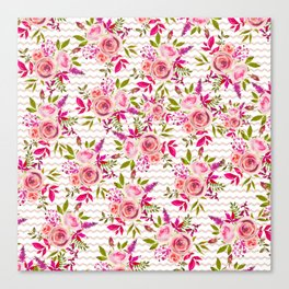 Geometrical pastel pink coral watercolor roses zigzag pattern Canvas Print