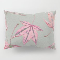 Japanese maple leaves - apricot on light khaki green Pillow Sham
