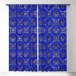 Fleur-de-lis pattern - Lapis Lazuli and Gold Blackout Curtain