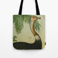 ostrich Tote Bags featuring Ostrich  by Connie Goldman