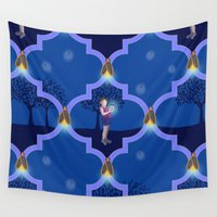 fireflies Wall Tapestries featuring Fireflies - Summer Wonders Light the Night by Shelly Penko