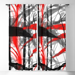 red black grey silver white bamboo abstract digital painting Blackout Curtain