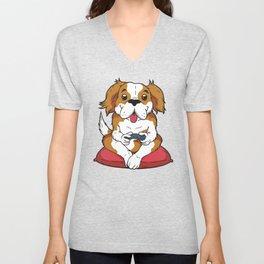 Puppy Dog Video Gamer Unisex V-Neck