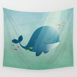 Whale print Wall Tapestry