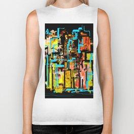 City Outlined in Blue Biker Tank