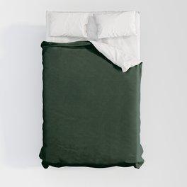 Textured dark green, solid green, dark green. Duvet Cover