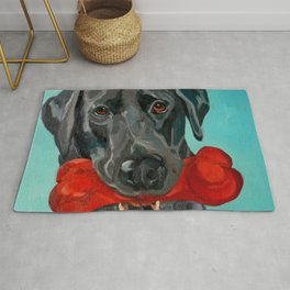 Ozzie the Black Labrador Retriever Rug