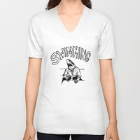 swimming V-neck T-shirts featuring Swimming by Akoala