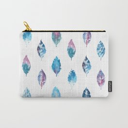 Blue Purple Watercolor Leaves Carry-All Pouch