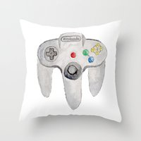 nintendo Throw Pillows featuring Nintendo 64 by Zoë Hayman