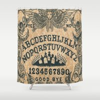 ouija Shower Curtains featuring Ouija Board by ezmaya