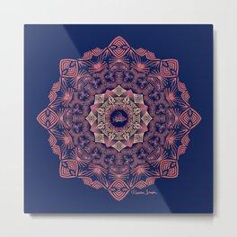 Tribal Hogfish Mandala on Indigo Metal Print