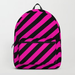 Bright Hot Neon Pink and Black Candy Cane Stripes Backpack