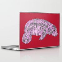 manatee Laptop & iPad Skins featuring Pink Manatee by Crayle Vanest
