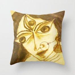 Divine Series 5 : Durga in charcoal Throw Pillow