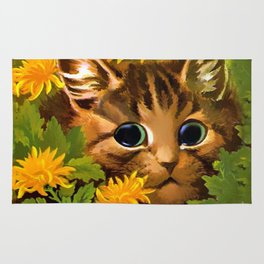 """Louis Wain's Cats """"Tabby in the Marigolds"""" Rug"""