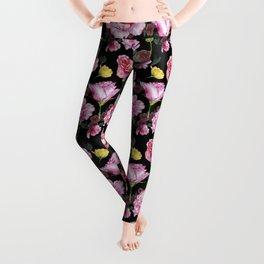 Pink and Yellow Rose Pattern On Black Leggings