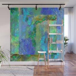 Blue-Aqua Opal Birthstone Inlay Abstract Wall Mural