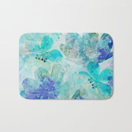 blue turquoise mixed media flower illustration Bath Mat