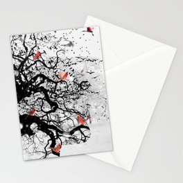 Red Birds in Snow by GEN Z Stationery Cards