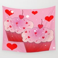 cupcakes Wall Tapestries featuring Whimiscal Cupcakes and Hearts by Judy Skowron