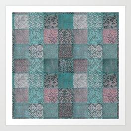 Nostalgic Patchwork Pattern Teal And Pink Art Print