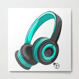 Blue and black headset Metal Print