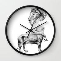 leo Wall Clocks featuring Leo by Carolina Espinosa