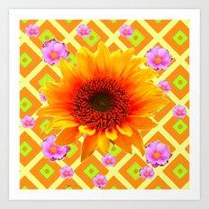 Golden Sunflower &  Pink Roses  Yellow Pattern Art Art Print