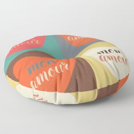 Mon amour pop art calligraphy Floor Pillow