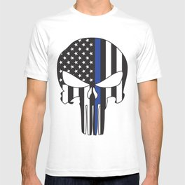 Punisher Skull American Flag Thin Blue Line T-shirt