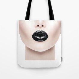Fashion Print, Black Lip Print, Fashion Printable Tote Bag