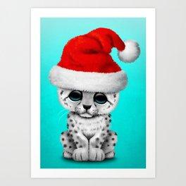 Christmas Snow Leopard Wearing a Santa Hat Art Print