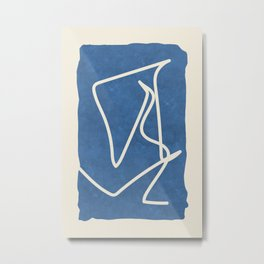 Sophisticated Lines on Blue Metal Print
