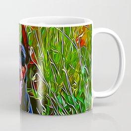 doberman dog red flowers meadow vector art Coffee Mug