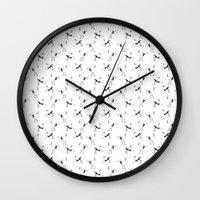 crane Wall Clocks featuring Crane by Jiaxi Huang
