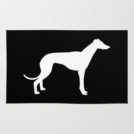 Greyhound square black and white minimal dog silhouette dog breed pattern Rug