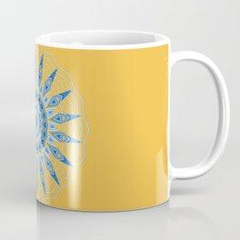 Gold Blue Aztec Mandala Design Coffee Mug