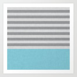 Blue and gray stripes and color block Art Print
