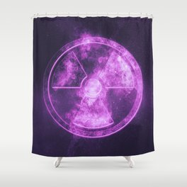 Radiation sign, Radiation symbol. Abstract night sky background Shower Curtain