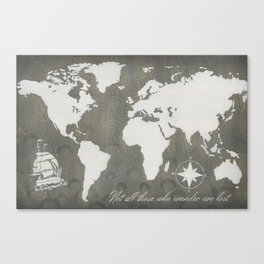 Not All Who Wander - World Map Canvas Print